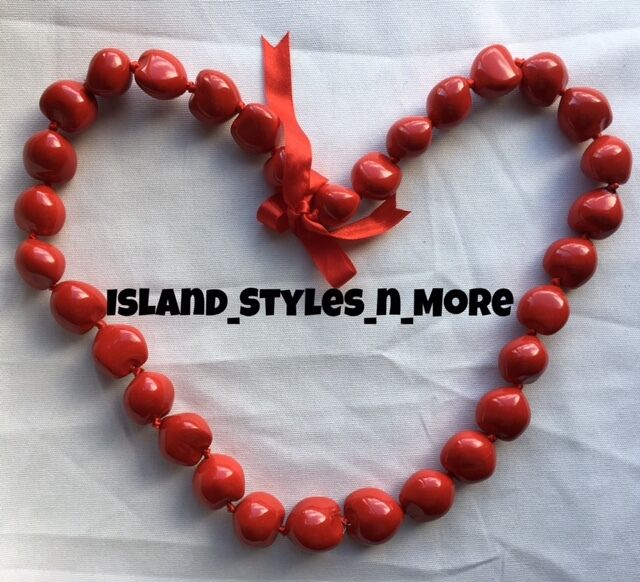 Hawaii Wedding Kukui Nut Lei Graduation Luau Hula Party Necklace SOLID RED NWT