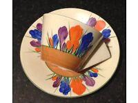Clarice Cliff CONICAL Cup & Saucer Duo - Autumn Crocus c1920s Art Deco