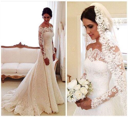 Vintage long sleeve lace wedding dresses off the shoulder for Ebay vintage wedding dress