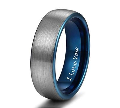 6mm TUNGSTEN RING ENGRAVED I LOVE YOU WEDDING BAND FOR MEN WOMEN BLUE Size 7-12