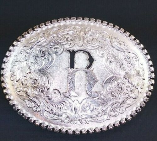 """Western Silver Engraved """"R"""" belt buckle from Montana Silversmiths"""