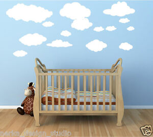 Nuages autocollant mural 15 stickers filles gar on cr che pour enfants ebay for Autocollant decoratif mural
