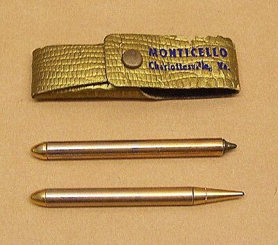 Vintage Pen & Pencil set - Gold Plated - Monticello, CHARLOTTESVILLE, VA., VG