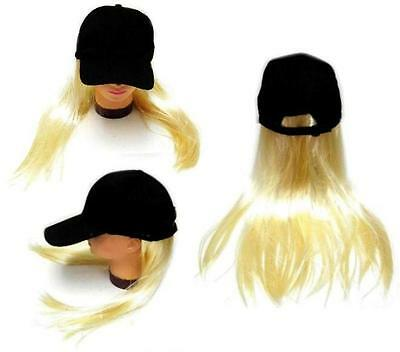 NOVELTY BASEBALL HAT WITH LONG BLONDE HAIR costume dressup ball cap mens - Balls With Hair