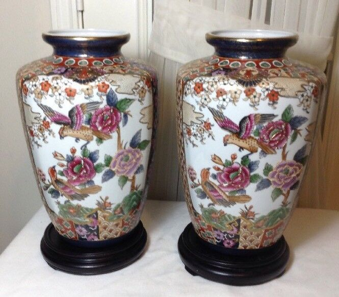 Vintage Pair of Large Chinese Hand Painted Porcelain Vases w/ Gold Trim & Base