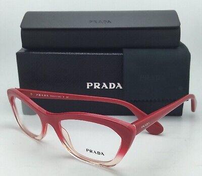 New PRADA Eyeglasses VPR 03Q PDO-1O1 Red-Pink fade to Transparent Cat-Eye Frames