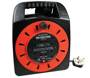 25m-4-Gang-Ways-Sockets-Standard-Extension-Reels-Electrical-Lead-Cable-UK-Mains