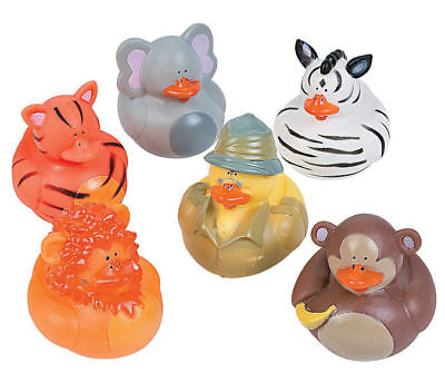 12 Safari RUBBER DUCKS Cake Toppers Zoo Baby Shower Party Favors - Baby Shower Decorations Ducks