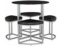 Tokyo Round Glass Space Saver Dining Table and 4 Stools - Black