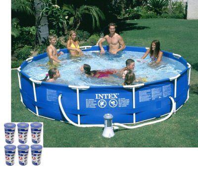"Intex 12' x 30"" Metal Frame Set Swimming Pool with 530 GPH F"