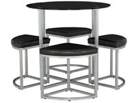 tokyo round space saver dining table and 4 stools black