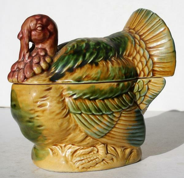 Turkey Figurine Lefton Beautiful Ceramic-Porcelain Hand Painted Sugar w-Lid-RARE
