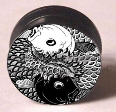 Acrylic Yin Yang Coy Fish Black and White Ear Plug Tunnel 10mm - 25mm PAIRS