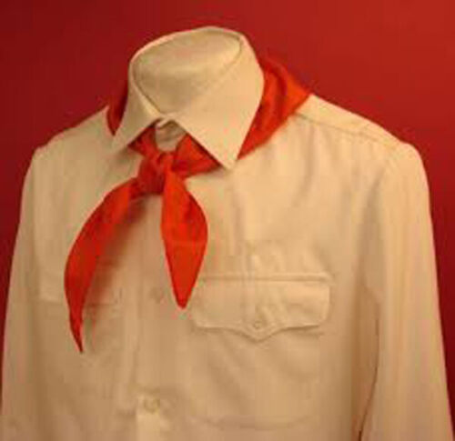 Soviet Young Pioneer Red Tie (GALSTUK) Youth Scout Original w/Tag 1988 & 2 Pins