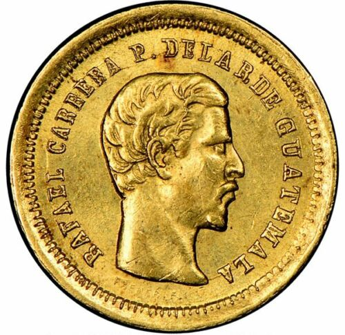 Guatemala Republic Gold 4 Reales 1860-R NGC MS64 Great Luster !