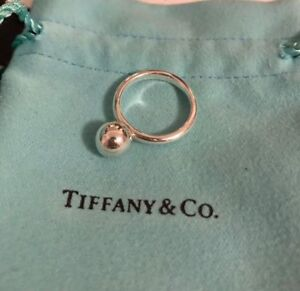 authentic tiffany silver hardware ball 8mm ring size 4.5