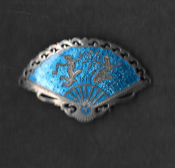 STERLING SILVER AND BLUE ENAMEL BROOCH PIN