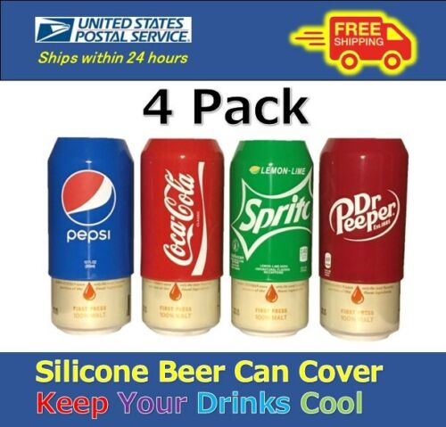 4 Pack Beer Can Covers,Silicone Sleeve Hide a Beer Coca-Cola,Pepsi,Sprite 12oz