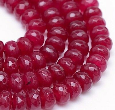 15 ACHAT PERLEN Edelsteine NATURAL 8mm RUBY ROT Rondell Facettiert G256