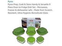 Pyrex Set of 9 oven to fridge dishes brand new