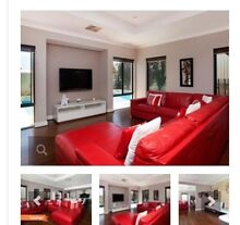 Red Italian Leather Modular Sofa Tapping Wanneroo Area Preview