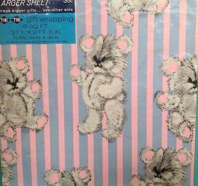Vintage  Gift Wrap Wrapping Paper Koala Teddy Bears Pink Blue Stripes