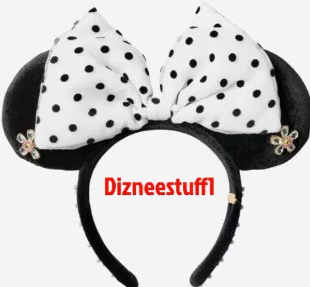 Disney Baublebar Minnie Ears Black White Polka Dot Bow Headband Flower NEW