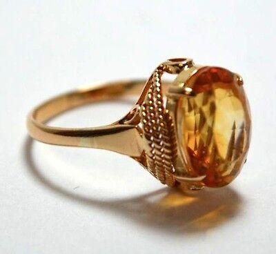 ESTATE Vintage 1980's High Fashion Filigree Ring 18k Gold 4-6 ct  Golden Citrine