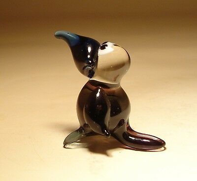 Blown Glass Figurine Small Bird Black Baby Raven CROW