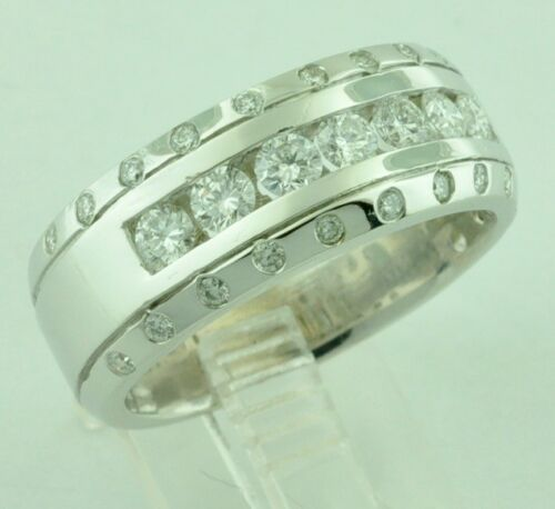 14k Solid White Gold Mens Natural Diamond Ring Channel Set Band April Birthstone