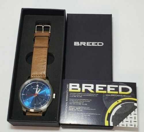 Breed Renegade Leather-Band Watch - Blue/Brown BRD7707 Microbrand Collector