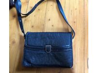 Vintage handbag. Made in Italy by Guido Borelli. Soft ostrich. Midnight blue.