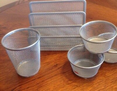 5 Piece Wire Mesh Desk Organizer Set Silver Office Desk Organizers For Wome...