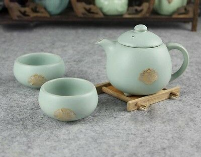 3pcs Chinese Porcelain Celadon Ru Kiln Sky Cyan Tea set 1 teapot and 2 tea cups