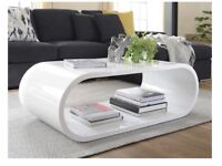 Oval white gloss coffee table