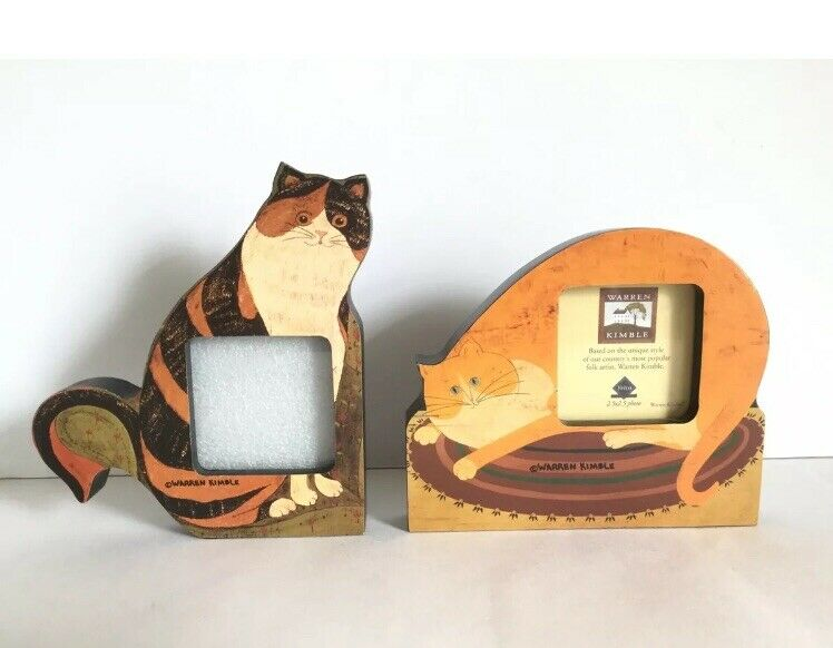 """2 WARREN KIMBLE FAT CALICO CAT CLAIRE PICTURE FRAME2.5""""x2.5"""" Photo By FETCO"""