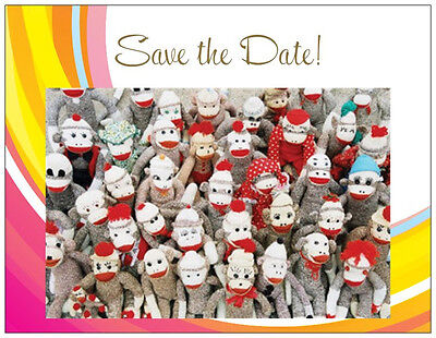 20 Save the Date MONKEYS  Made of SOCKS FAMILY REUNION  Post CARDS - Family Reunion Save The Date