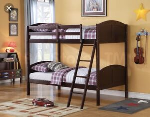 Wood Bunk-beds, two mattresses