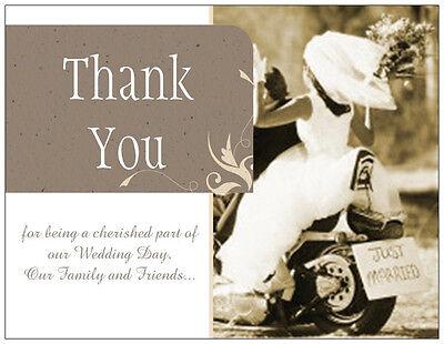 CUSTOM UR PHOTO or AS Shown WEDDING THANK YOU Custom Motorcycle Flat Cards -