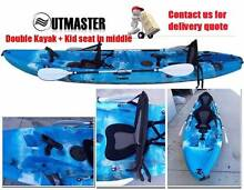 BRAND New 3.7M Double Seat Fishing Kayak Rod Holders Canoe Paddle Kings Park Blacktown Area Preview