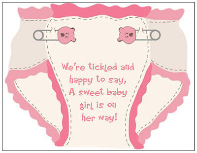 Pink Baby Shower Invitations ( 20 BABY Girl PINK Diaper SHOWER PARTY INVITATIONS & Envelopes OR)
