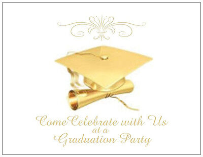 Personalized Golden GRADUATION Cap Party INVITATIONS  Postcards or Flat Cards ()