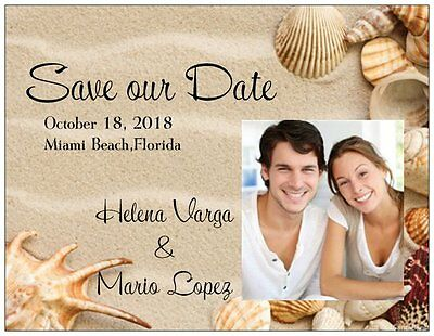 30 50 100 UR Photo Personalized BEACH Save the DATE 5.5 x 4 MAGNETS & Env