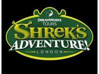 SATURDAY! 2x Shreks Adventure Tickets 18th August 3.30