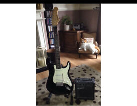 Rock-burn electric guitar with amp