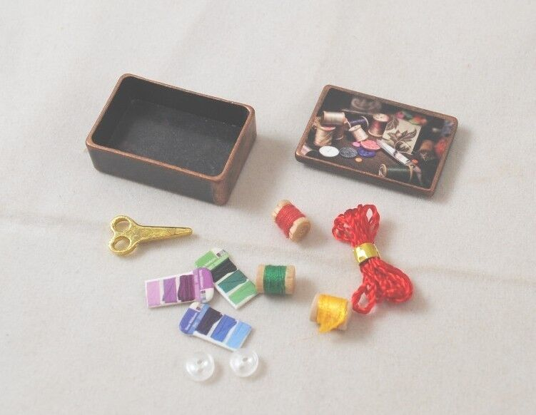 Antique Sewing Box w Accessories  dollhouse miniature 112 scale G7047 metal