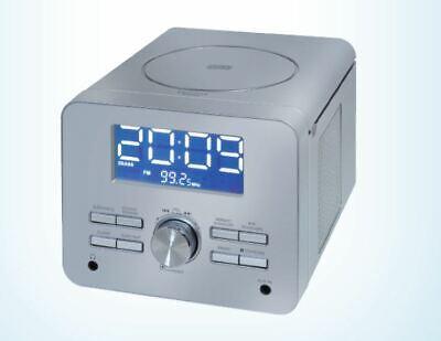 UHRENRADIO MIT CD PLAYER  AUX  WECKRADIO KÜCHENRADIO RADIOWECKER SILBER (Uhr Mit Cd-player)