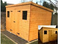 10 X 8 FT EXTRA HEAVY DUTY PENT TIMBER GARDEN SHED PREMIUM QUALITY FULLY ASSEMBLED