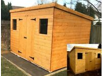 12 X 10 FT EXTRA HEAVY DUTY PENT TIMBER GARDEN SHED PREMIUM QUALITY FULLY ASSEMBLED