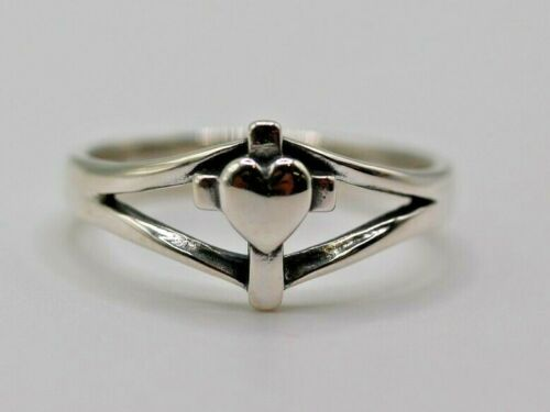 James Avery Sterling Silver Cross Heart Ring Size 9